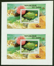 Zaire 1980 Tropical Fish SS imperf proof PAIR-1