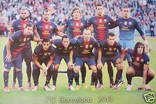 "FC BARCELONA ""2013 TEAM ON PITCH"" FOOTBALL POSTER-Puyol,Messi,Iniesta,Villa,Xavi"