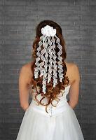 Ladies Wedding Bridal Curls Ivory / White with Satin Rose Flower Hair Comb Veil