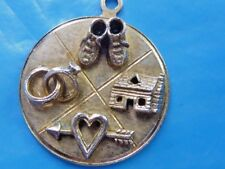 VINTAGE 50'S STERLING LOVE HOME WEDDING BABY CHARM PENDANT BEAU STERLING