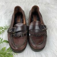Sperry Spider Wetland Leather Loafers Mens Shoes Size 9.5 Slip On Brown Fringe