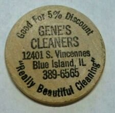 VINTAGE BLUE ISLAND ILLINOIS GENE'S CLEANERS 5% DISCOUNT WOODEN NICKEL