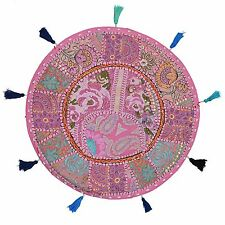 Ethnic Vintage Round Patchwork Floor Cushion Cover Couch Bohemian Cotton 18x18