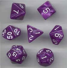 RPG Dice Set of 7 - Pearl Purple (white ink) D4 D6 D8 D10 D12 D20 D00-90