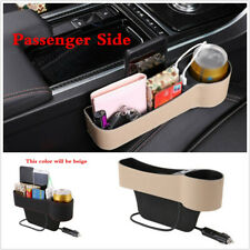 1X PU Leather Car Seat Gap Storage Box Phone Coins Organizer Dual USB Cup Holder
