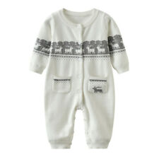 Toddler Baby Boy Girls Winter Warm Romper Knit Bodysuit Jumpsuit Sweater Clothes