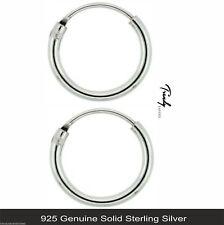 Women/Men Genuine Solid 925 Sterling Silver Hinged Hoop Sleeper Earrings