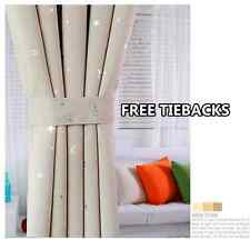Kids Room Solution Blockout Eyelet Curtains 2 x 140cm x 230cm (Drop) Beige Stars