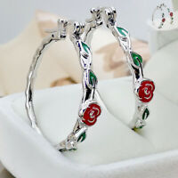 Earrings Silver Fashion Hoop Drop Wedding Big Stud Ear Circle Flower Dangle