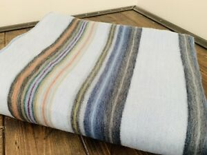 Alpaca Blanket Throw Striped Light Blue Color Alpaca Wool Twin Nwot Soft Warm
