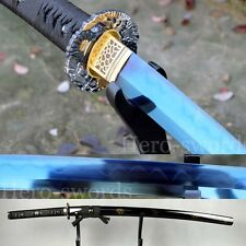 HANDMADE Japanese Samurai Sword Katana Clay Tempered T1095 Steel Blue BLADE