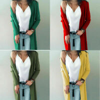Women Long Sleeve Knit Open Front Cardigan Top Jacket Jumper Coat Sweater S-XL