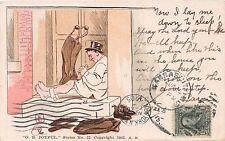 DRUNK ON FRONT PORCH~NOW I LAY ME DOWN TO SLEEP~O B JOYFUL COMIC POSTCARD 1905