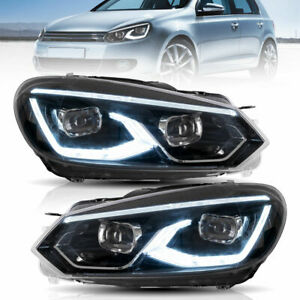 VLAND Headlights Golf 8 Style LED Sequential Indicators For 2008-2013 VW Golf 6