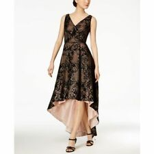 Calvin Klein Sleeveless V-neck High Low Hem Gown in Lace Fabric 14 Black