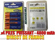 4 Piles AA 4800mAh Rechargeable Mignon LR6 1.2V Ni-Mh TRES PUISSANT - DE FRANCE