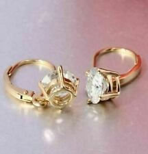 4CT Round Moissanite Solitaire Hoop/Huggie Earrings 14k Yellow Gold Finish