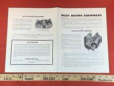 Vintage 1947 Riley Racing Equipment Brochure & Parts List - 4-Port / Banger