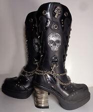 NEW ROCK Chain & Skull Platform Black Leather Heel Boots Women's Size 6.5