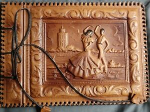 VINTAGE Brown Leather Photo Album Embossed Cover | never used | antiquariat