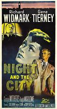 NIGHT AND THE CITY Movie POSTER 27x40 B Richard Widmark Gene Tierney Googie