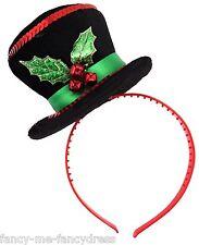 Ladies Snowman Holly Mini Top Hat Fancy Dress Costume Accessory Head Hair Band