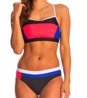 SPEEDO Color Block Pink Blue Hydro Bra 2 Pc Swim Suit NEW Womens Sz 4 6 8 12 14