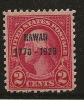 US Scott #647, Single 1928 Hawaii 2c FVF MH