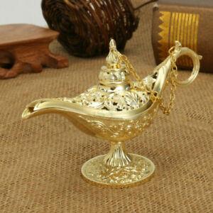 3D Aladdin Magic Genie Light OiL Lamp Pot Legend Light Golden Lace Blue