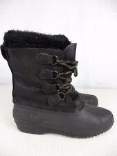 SOREL Womens sz 9 Black Lace Up Faux Fur Insulated Waterproof Winter Snow Boots