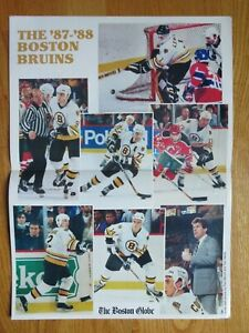 Boston Globe 1987-88 BRUINS Insert Poster CAM NEELY RAY BOURQUE TERRY O'REILLY