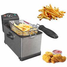 3L Electric Deep Fat Chip Fryer Non Stick Pan & Safe Basket Handle Brushed Steel