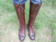 Mux Leather Vintage Two Tone Full Front Laces Horse Riding Tall Boot UK 5 - 12