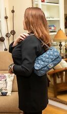 VERIFIED Authentic RARE Blue Chanel Tweed Stitch Flap Bag