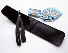 Black Stylish Straight Barber Edge Steel Razor Folding Shaving Knife+10pcs Blade