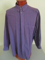 Vintage Zanella Made in Italy Covered Placket Grid Check Cotton Sport Shirt XL