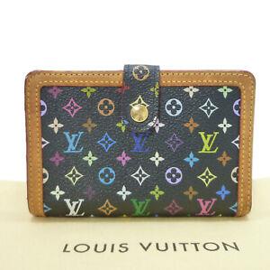 Auth LOUIS VUITTON Portefeuille Viennois Black Wallet M92988 Multi-Color W410030