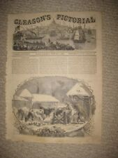 ANTIQUE 1854 VICTORIAN ART PRINT JANUARY WINTER FARMING COW SCENE AGRICULTURE NR