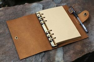 Personalized refillable 6 ring rustic leather A6 journal cover with pen holder