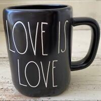 "Rae Dunn 2021 Black Mug ""LOVE IS LOVE"" NEW! LOW Ship! 🖤🧡💛💚💙🖤"