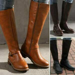 Womens Boots Knee High Riding Boots Winter Low Block Heel Wide Calf Shoes UK