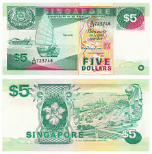 SINGAPORE 5 Dollars, Ship, PSA Terminal, 1989, P-19, UNC
