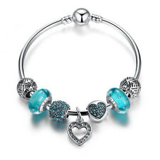 Wostu Christmas silver Charms Bangle With Blue CZ Murano Bead For Women Jewelry