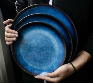 Japanese Crackle Glaze Dinner Set Ceramic Plate Dessert Salad Bowl Tableware