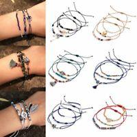 3pcs Boho Crystal Beads Adjustable Bracelets Set Women Summer Holiday Jewellery