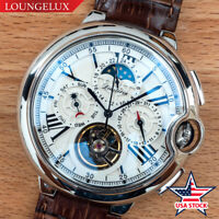 Mens Automatic Mechanical Watch - Silver White Dial Brown Leather USA Stock