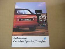 1991 VW GOLF CABRIOLET CLASSICLINE SPORTLINE YOUNG Brochure Prospekt Catalogue