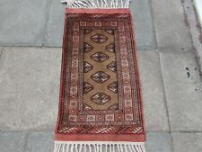 Vintage Hand Made Traditional Rug Oriental Wool Brown Red Small Rug 103x56cm