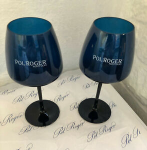 POL ROGER CHAMPAGNE FLUTES X 2  ACRYLIC DARK BLUE POOLSIDE HOT TUB X 2 USED