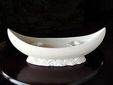 "ViNTaGe White ArT DeCo Pottery ""CANOE on WAVES"" Candle Holder~Centerpiece Bowl"